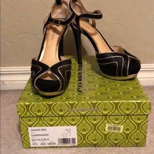 Gianni bini black and gold heels